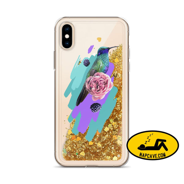 Hummingbird Dream in Teal Rose Liquid Glitter iPhone Case Gold / iPhone X/XS Mobile Accessories The NapCave Hummingbird Dream in Teal Rose