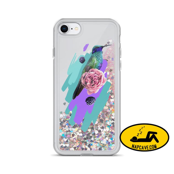 Hummingbird Dream in Teal Rose Liquid Glitter iPhone Case Pink / iPhone 7/8 Mobile Accessories The NapCave Hummingbird Dream in Teal Rose