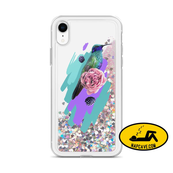 Hummingbird Dream in Teal Rose Liquid Glitter iPhone Case Pink / iPhone XR Mobile Accessories The NapCave Hummingbird Dream in Teal Rose