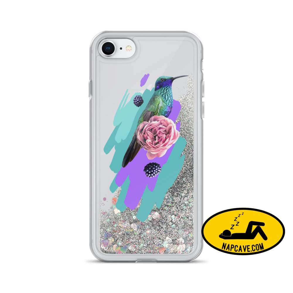 Hummingbird Dream in Teal Rose Liquid Glitter iPhone Case Silver / iPhone 7/8 Mobile Accessories The NapCave Hummingbird Dream in Teal Rose