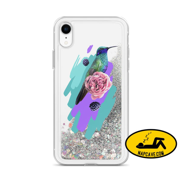 Hummingbird Dream in Teal Rose Liquid Glitter iPhone Case Silver / iPhone XR Mobile Accessories The NapCave Hummingbird Dream in Teal Rose