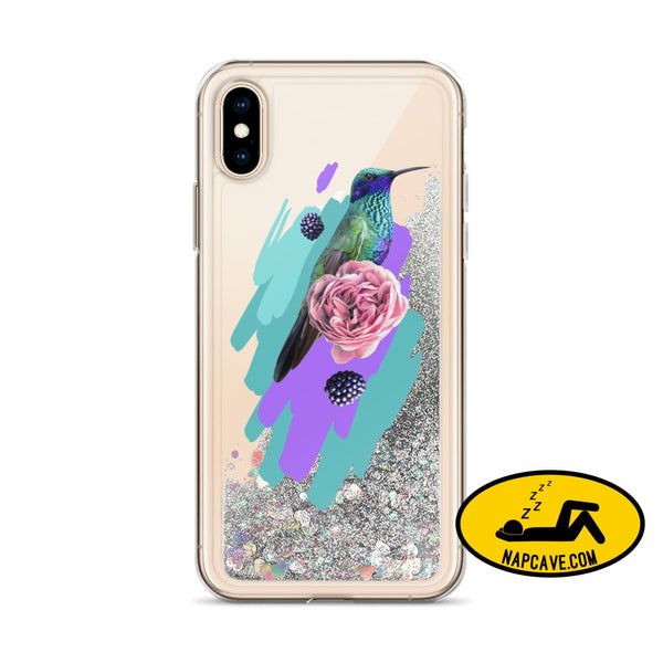 Hummingbird Dream in Teal Rose Liquid Glitter iPhone Case Silver / iPhone X/XS Mobile Accessories The NapCave Hummingbird Dream in Teal Rose