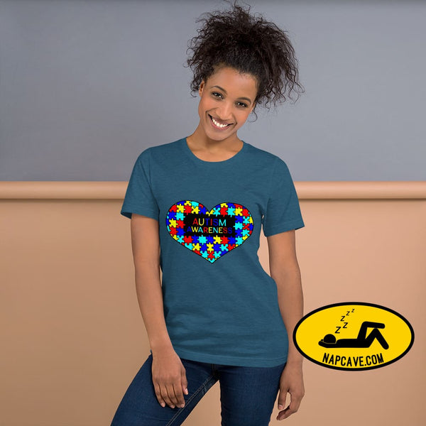 I Heart Autism Awareness Heather Deep Teal / S Shirt The NapCave I Heart Autism Awareness Aspergers Syndrome Autism custom made design