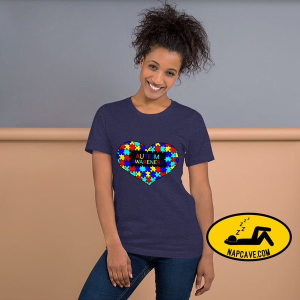 I Heart Autism Awareness Heather Midnight Navy / XS Shirt The NapCave I Heart Autism Awareness Aspergers Syndrome Autism custom made design