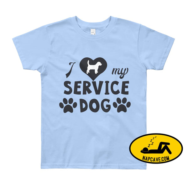 I Love my Service Dog Youth Short Sleeve T-Shirt Baby Blue / 8yrs The NapCave I Love my Service Dog Youth Short Sleeve T-Shirt autoimmunity