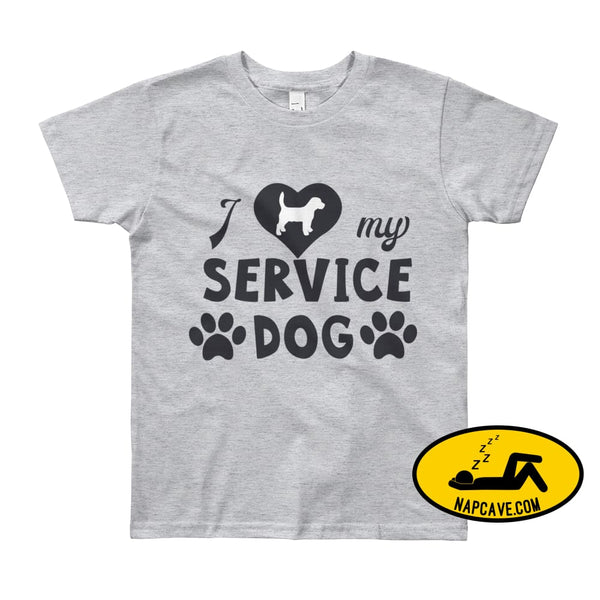 I Love my Service Dog Youth Short Sleeve T-Shirt Heather Grey / 8yrs The NapCave I Love my Service Dog Youth Short Sleeve T-Shirt