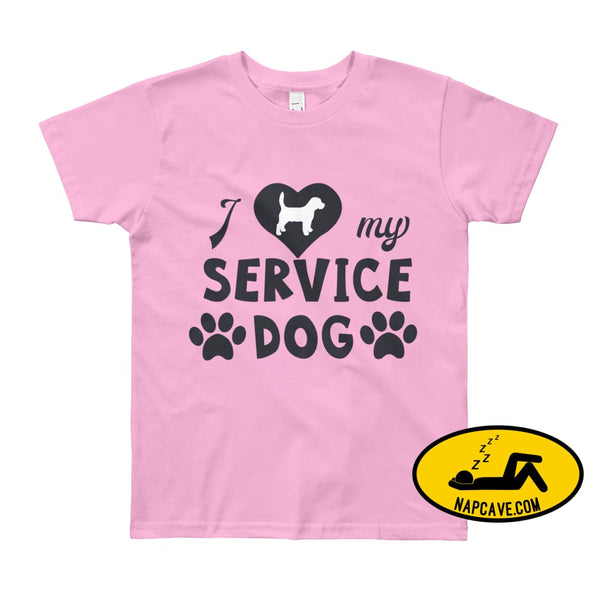 I Love my Service Dog Youth Short Sleeve T-Shirt Pink / 8yrs The NapCave I Love my Service Dog Youth Short Sleeve T-Shirt autoimmunity