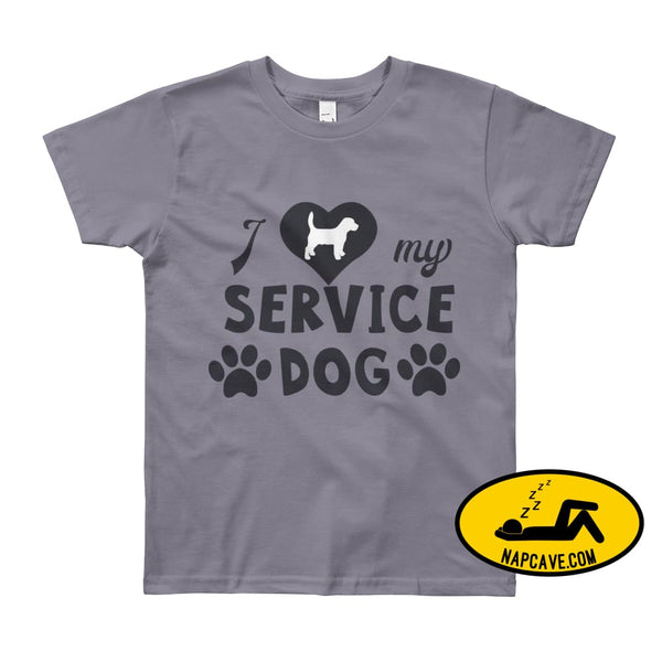 I Love my Service Dog Youth Short Sleeve T-Shirt Slate / 8yrs The NapCave I Love my Service Dog Youth Short Sleeve T-Shirt autoimmunity