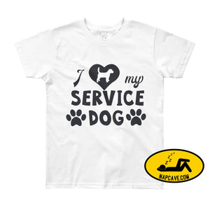 I Love my Service Dog Youth Short Sleeve T-Shirt White / 8yrs The NapCave I Love my Service Dog Youth Short Sleeve T-Shirt autoimmunity