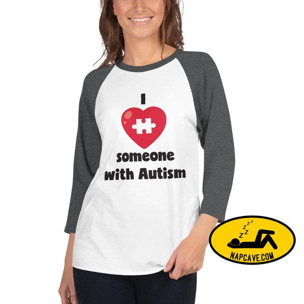 I Love Someone with Autism White/Heather Charcoal / XS SHIRT The NapCave I Love Someone with Autism Advocate autism conversation starter