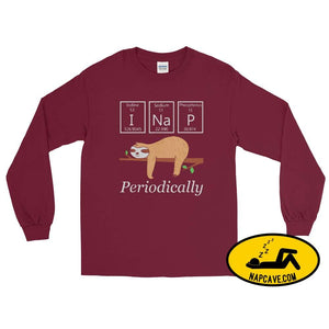 I Nap Periodically Long Sleeve Shirt Maroon / S Long sleeve shirt The NapCave I Nap Periodically Long Sleeve Shirt cozy funny I nap