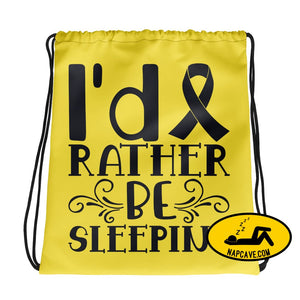 Id Rather be Sleeping Drawstring bag The NapCave Id Rather be Sleeping Drawstring bag awareness awearness draw string bag napcave narcolepsy