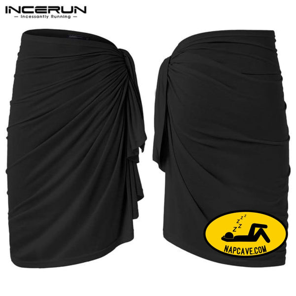 INCERUN Pajamas Men Blanket Beach Towel 2019 Underpants Bathrobes Fashion Bath Towel Skirts Men Robe Bottom Homewear Lounge Black / S The