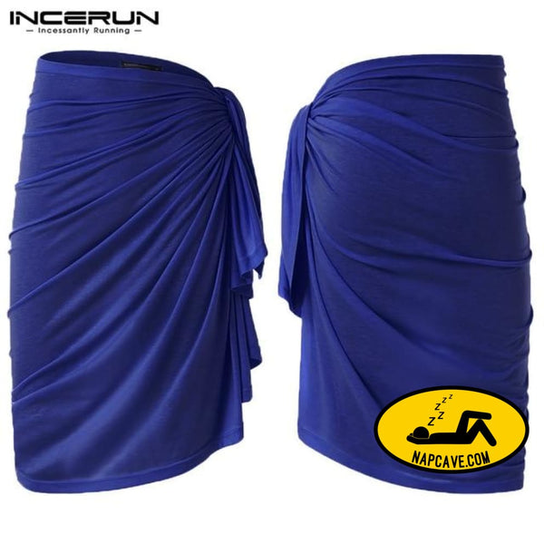 INCERUN Pajamas Men Blanket Beach Towel 2019 Underpants Bathrobes Fashion Bath Towel Skirts Men Robe Bottom Homewear Lounge Blue / S The