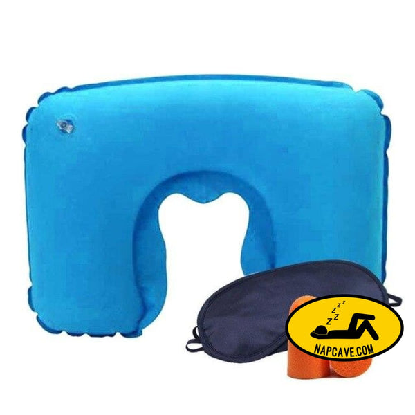 Inflatable U Shaped Travel Pillow Neck Car Head Rest Air Cushion for Travel Office Nap Head Rest Air Cushion Neck Pillow Blue Travel pillow