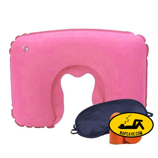 Inflatable U Shaped Travel Pillow Neck Car Head Rest Air Cushion for Travel Office Nap Head Rest Air Cushion Neck Pillow Pink Travel pillow