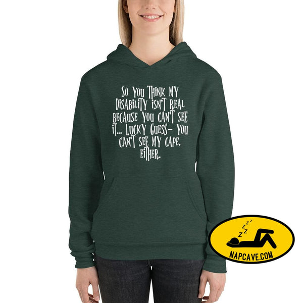 Invisible illness Invisible Cape Unisex hoodie Heather Forest / S The NapCave Invisible illness Invisible Cape Unisex hoodie cataplexy