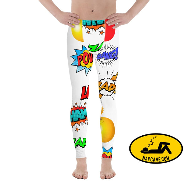 Ka Pow! Take that Sleep Deprivation! Mens Leggings XS The NapCave Ka Pow! Take that Sleep Deprivation! Mens Leggings bang Boom Comic words