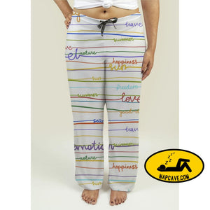 Ladies Pajama Pants with Stripe Pattern with words Pajama Pants Gear New Ladies Pajama Pants with Stripe Pattern with words comfortable