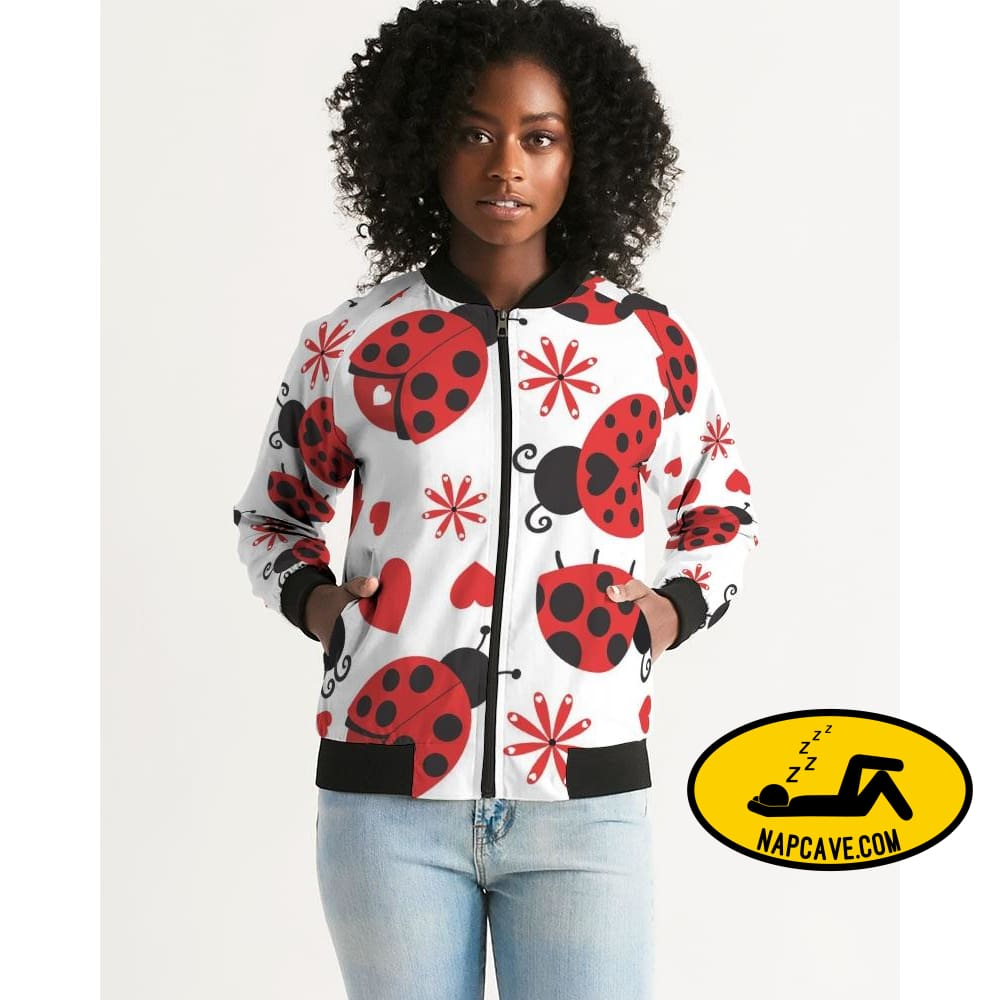 Lady Bug Womens Bomber Jacket cloth The NapCave Lady Bug Womens Bomber Jacket