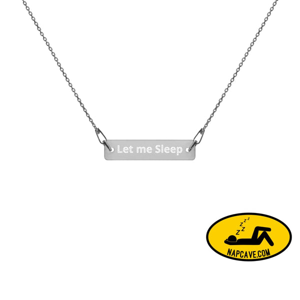 Let me Sleep Engraved Silver Bar Chain Necklace Black Rhodium / 16 Jewelry The NapCave Let me Sleep Engraved Silver Bar Chain Necklace Do