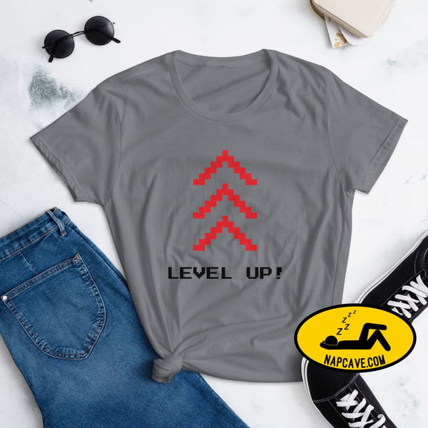Level Up Women's short sleeve t-shirt Storm Grey / S The NapCave Level Up Women's short sleeve t-shirt gamers, Level up, shirt, short