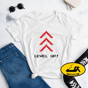 Level Up Women's short sleeve t-shirt White / S The NapCave Level Up Women's short sleeve t-shirt gamers, Level up, shirt, short sleeves,