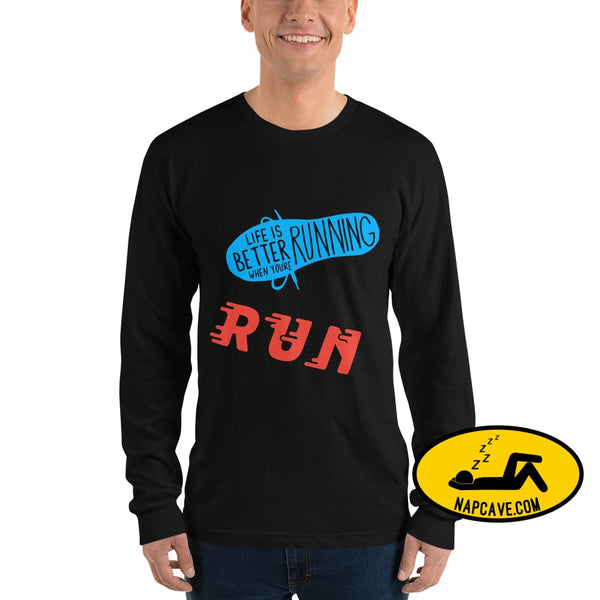 Life is better Running Long sleeve t-shirt Black / S The NapCave Life is better Running Long sleeve t-shirt Life is better Running Long