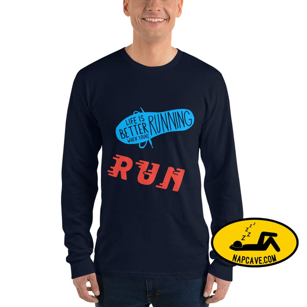 Life is better Running Long sleeve t-shirt Navy / S The NapCave Life is better Running Long sleeve t-shirt Life is better Running Long