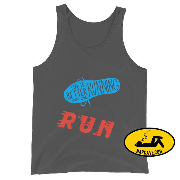 Life is better Running! Unisex Tank Top Asphalt / XS The NapCave Life is better Running! Unisex Tank Top Life is better running marathod