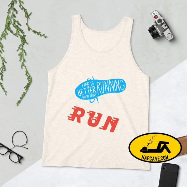 Life is better Running! Unisex Tank Top The NapCave Life is better Running! Unisex Tank Top Life is better running marathod narcolepsy