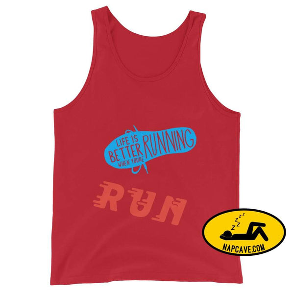 Life is better Running! Unisex Tank Top Red / XS The NapCave Life is better Running! Unisex Tank Top Life is better running marathod