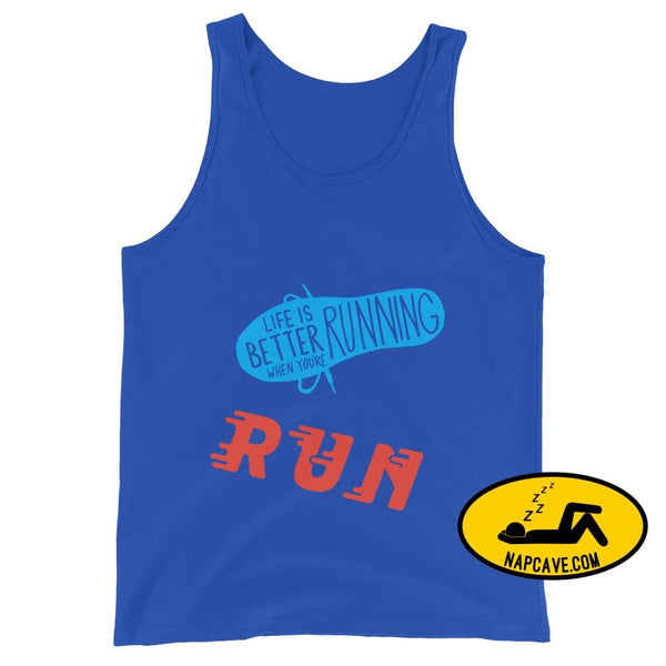 Life is better Running! Unisex Tank Top True Royal / XS The NapCave Life is better Running! Unisex Tank Top Life is better running marathod