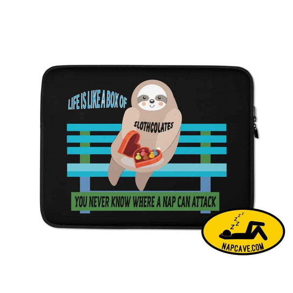 Life is Like a Box of Slothcolates Laptop Sleeve 13 in Laptop sleeve case The NapCave Life is Like a Box of Slothcolates Laptop Sleeve gifts