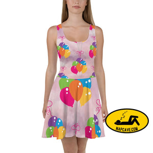 Lighter than Air Colorful Balloon Bouquets Skater Dress XS Dresses The NapCave Lighter than Air Colorful Balloon Bouquets Skater Dress