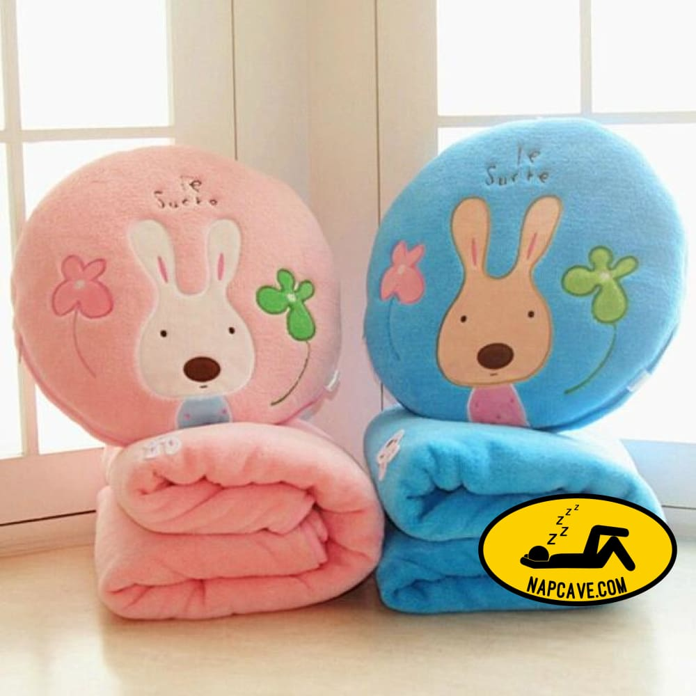 Lovely Sugar Rabbit Air Conditioning Blanket Dual-purpose Blanket Blanket for Children Nap Soft Staffed Rabbit Pillow Cushion AliExp Lovely