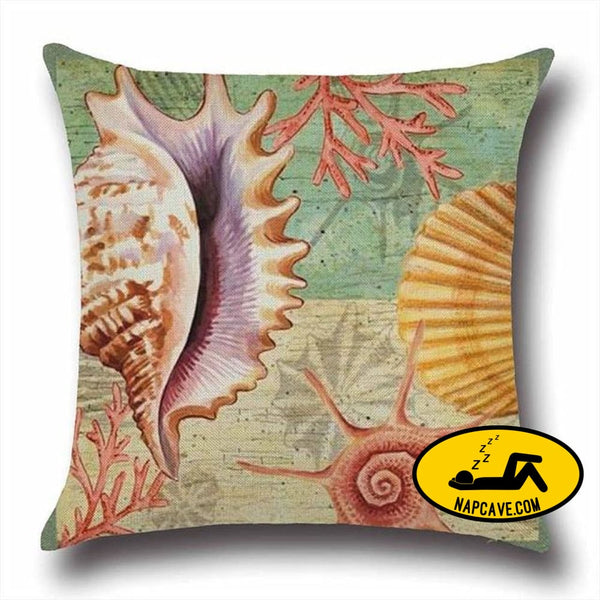 Marine Sea Shell Pattern Linen Throw Pillow Case with Nordic Ocean Prints 45x45cm / China / 1 Decorative Pillows AliExp Marine Sea Shell