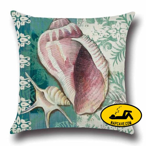 Marine Sea Shell Pattern Linen Throw Pillow Case with Nordic Ocean Prints 45x45cm / China / 2 Decorative Pillows AliExp Marine Sea Shell