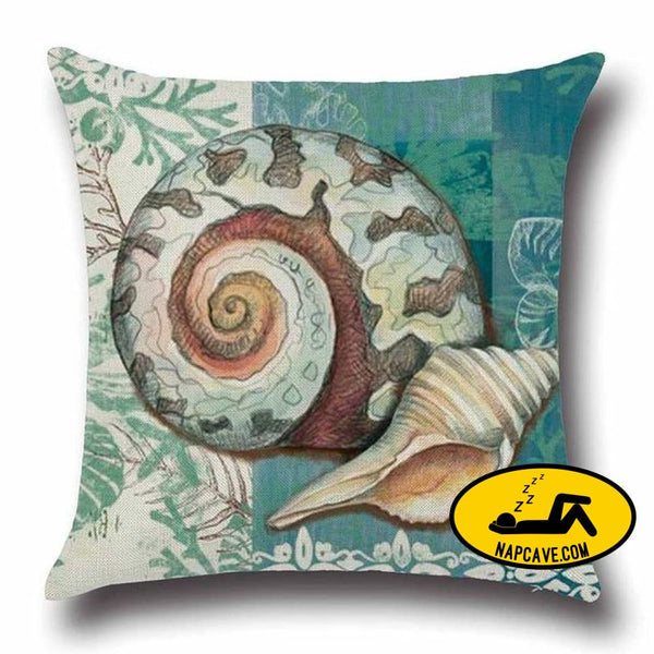 Marine Sea Shell Pattern Linen Throw Pillow Case with Nordic Ocean Prints 45x45cm / China / 3 Decorative Pillows AliExp Marine Sea Shell