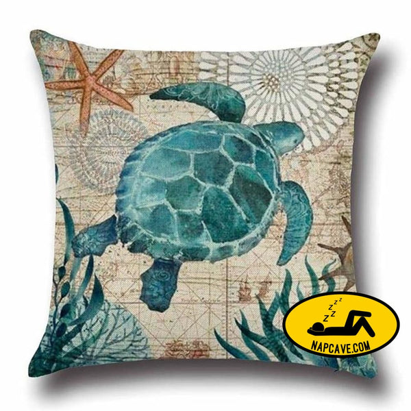 Marine Sea Shell Pattern Linen Throw Pillow Case with Nordic Ocean Prints 45x45cm / China / 4 Decorative Pillows AliExp Marine Sea Shell