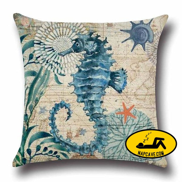 Marine Sea Shell Pattern Linen Throw Pillow Case with Nordic Ocean Prints 45x45cm / China / 5 Decorative Pillows AliExp Marine Sea Shell