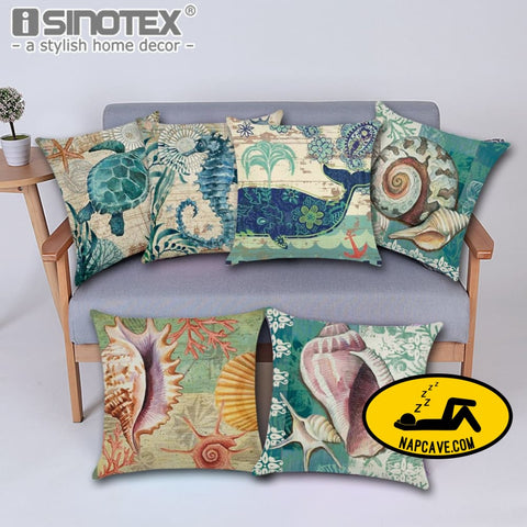 Marine Sea Shell Pattern Linen Throw Pillow Case with Nordic Ocean Prints Decorative Pillows AliExp Marine Sea Shell Pattern Linen Throw