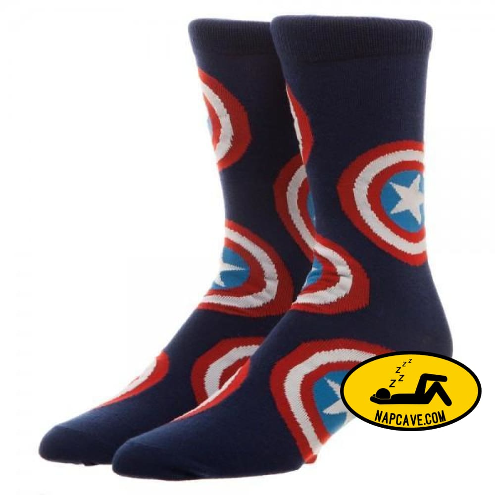 Marvel Captain America Large All Over Print Crew Socks Marvel Comics Marvel Captain America Large All Over Print Crew Socks mxed