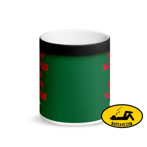 Merry Sleepmas and Happy Nap Year Matte Black Magic Mug The NapCave Merry Sleepmas and Happy Nap Year Matte Black Magic Mug Christmas Gifts