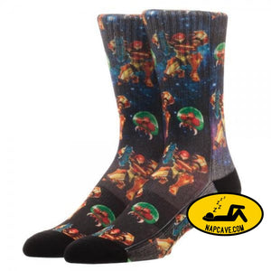 Metroid Samus Sublimated Socks Nick 90s Metroid Samus Sublimated Socks mxed