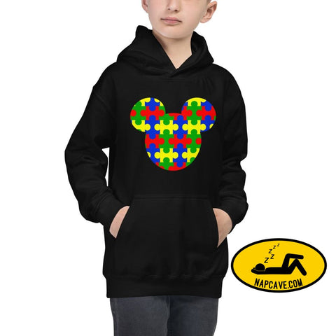 Mickey Mouse loves Kids with Autism Jet Black / XS Hoodie The NapCave Mickey Mouse loves Kids with Autism Autism Autism Awareness Autism