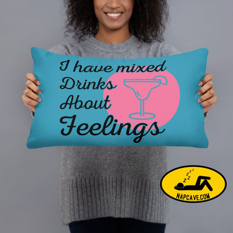 Mixed Drinks about Feelings / Too Glam to Give a Damn Reversible Pillow 20×12 Couch pillow The NapCave Mixed Drinks about Feelings / Too