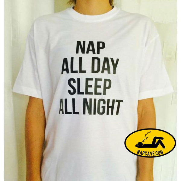 Nap all day sleep all night Letters Print Women T shirt Cotton Casual Funny Shirt For Lady White Top Tee Hipster Z-278 White / S Nap Cave