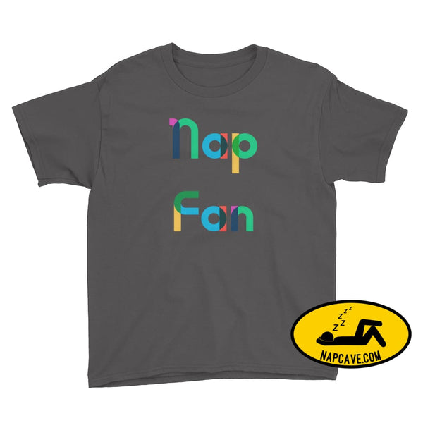 Nap Fan Rainbow Font Youth T-Shirt Charcoal / XS Kid Tee shirt The NapCave Nap Fan Rainbow Font Youth T-Shirt childrens Gift Gift for Kids