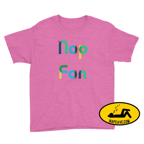Nap Fan Rainbow Font Youth T-Shirt Heather Hot Pink / XS Kid Tee shirt The NapCave Nap Fan Rainbow Font Youth T-Shirt childrens Gift Gift